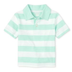 NWT Children's Place Sea Green Striped Polo Top 4T